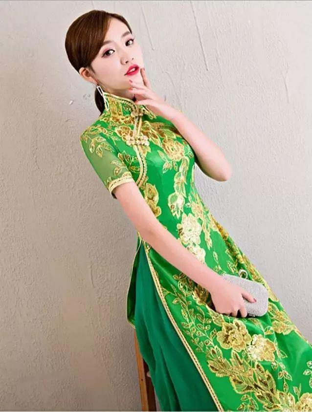 专属于你的冬季时尚,亮片刺绣类奥黛旗袍!